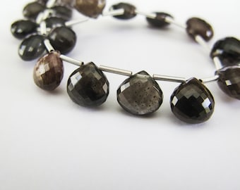 Cats Eye Scapolite Hearts, AAA Gemstone Beads, aaagems, 8-9mm, Micro Faceted, 12 Beads