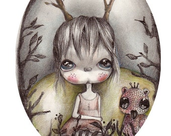 "original ..illustration drawing,ink graphite on fine art paper....""little treasures"""