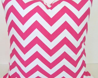Sale PINK PILLOW COVER Pink Decorative Throw Pillows Pink Chevron Pillow 16 x 16 Throw Pillow Covers Fabric Front & Back