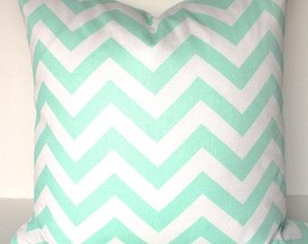 MINT PILLOWS Mint Throw Pillows Aqua Chevron Pillow Covers Mint Green Pillow Covers 16x16 18 20 Mint Chevron Pillows .Sale. Home and Living