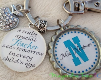 PERSONALIZED TEACHER Key Chain or Necklace, Teacher Gift, School, Supply, Aide, Educational Assistant, Principal, Truly Special Teacher