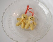 gingerbread man christmas tree decoration, hand sewn felt, bead and ribbon christmas decoration