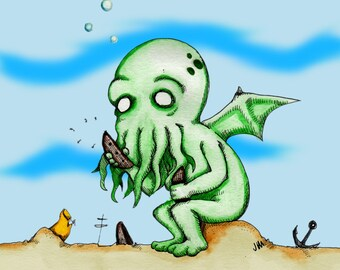 Cthulhu At Play Watercolor/Pen&ink Fine Art Print