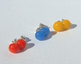 Stud Earring Set - Fused Glass Jewelry - 3 Earring Set - 3 Pairs of Red Blue and Yellow Fused Glass Post Earrings - MADE TO ORDER