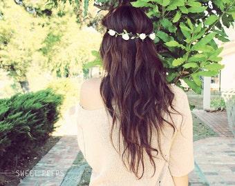 Romantic Flower Headband, Flower Crown, Rose Bud Hippie Flower Crown, Head Chain Flower HeadBand