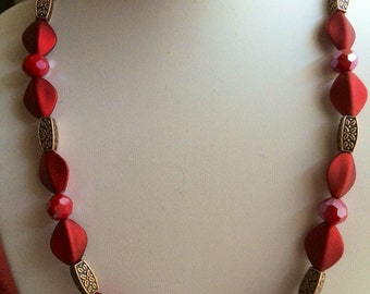 Simple Red and Bronze Necklace