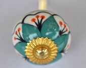 Ceramic and brass handle door white with yellow daisy flower pattern cabinet ball shaped knob