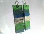 Green Blue Patchwork Hanji Paper Dangle Earrings OOAK Handmade Striped Hypoallergenic hooks Lightweight