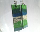 Green Blue Patchwork Hanji Paper Dangle Earrings OOAK Handmade Striped Hypoallergenic hooks Lightweight - HanjiNaty