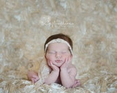 Newborn Photo Prop: Two Yards Champagne Rosette Backdrop with Two Free Headbands for Newborn Photo Shoot, Newborn Photo Prop, Photo Backdrop