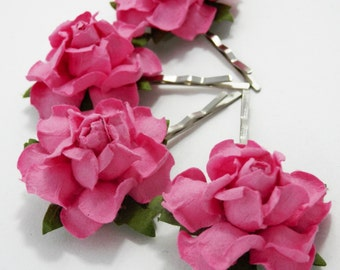 Pink Rose Hair Clips, Flower Clips, Wedding Flower Pins, Bridal hair pins, Bobby Pin Flowers, Floral Hair Bobbies
