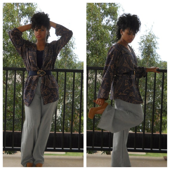 ON S A L E : Gray Slate Wide Leg Pants w/ Elastic Waistband M/L