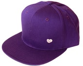 Purple - Vintage old school style - Hand printed heart snap-back hat - Modern - for women