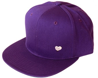CRAZY SALE 30% OFF - Purple - Vintage old school style - Hand printed heart snap-back hat - Modern - for women