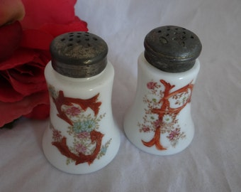 Antique Hand Painted Milk Glass Salt and Pepper Shakers - Lovely Salt and Pepper Shakers - White Salt and Pepper Shaker Set