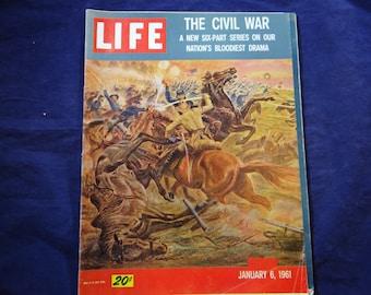 Vintage 1961 Life Magazine January 6 - The Civil War