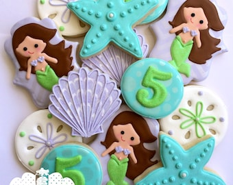 Mermaid Cookies Brunette - 1 Dozen