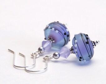Purple Lampwork Earrings with Crystal Accents,  Sterling Silver Earwires - Blue Violet Earrings - Lilac Glass Earrings