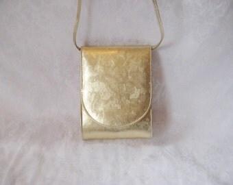 Gold formal bag purse, long strap, evening party purse, wedding purse