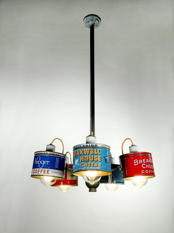 Classic 1950 39 s coffee can chandelier by rodneyallentrice on etsy - Can light chandelier ...