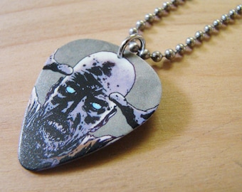 Zombie - The Walking Dead Guitar Pick Necklace 30 Inch Stainless Steel Ball Chain