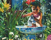 Whimsical Art Watercolor Illustration of Little Girl in Bird Bath, Paintings of Children, Summer gardens, Storybook illustrations