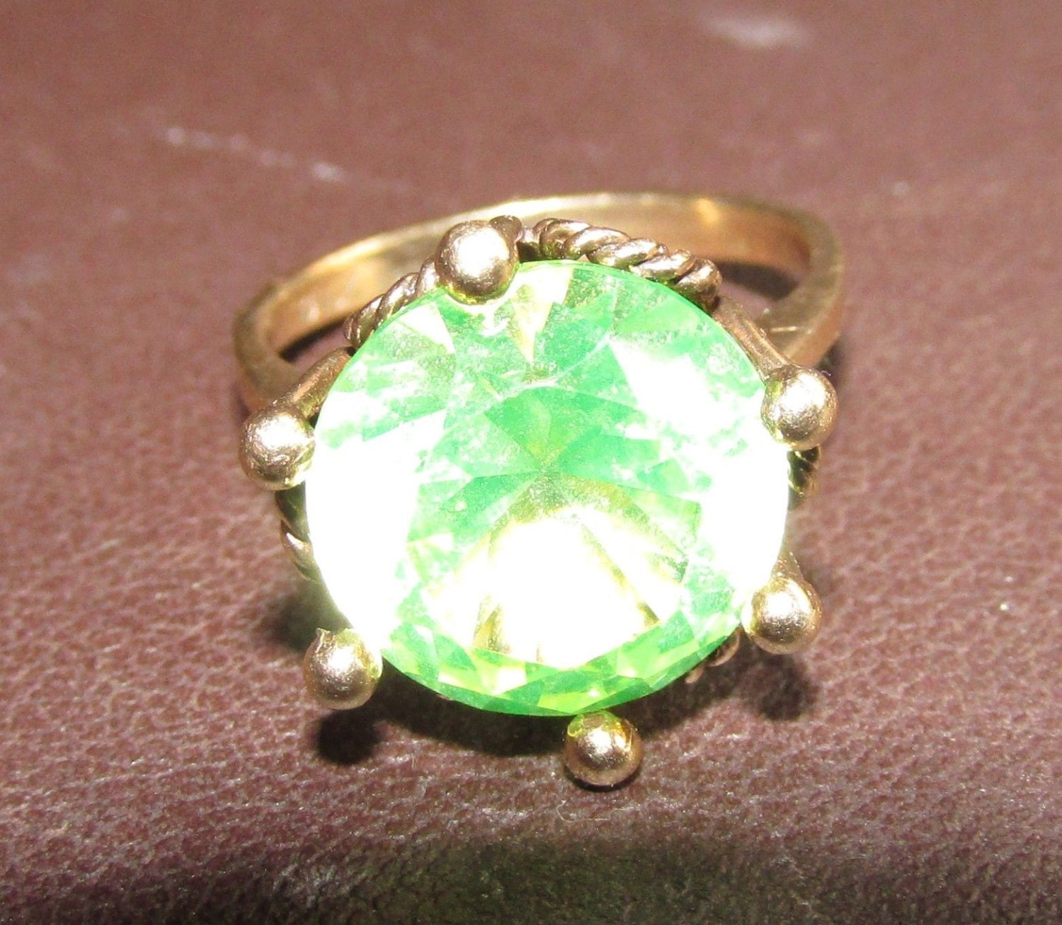 antique vintage estate peridot green ring one day by