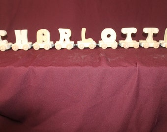 9 letter handcrafted, personalized wood child's name train