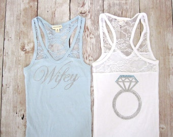 Bride Tank Top Shirt. Half Lace with Ring on Back. Half Lace. Custom Bridal Party Rhinestone Shirts. Wedding Bachelorette Party Tank Tops