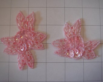 2 Piece Pink Flower Applique Set of 2 Beaded and Sequins