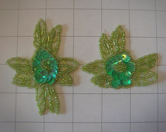 2 Piece Green Flower Applique Set of 2 Beaded and Sequins