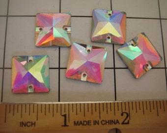 Set of 12 Flat-back AB Glass Rhinestone Square Shape 16mm (A-32)