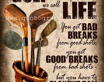 Bobby Jones Golf Quote - photo print -  Poster Wall Art Textured Distressed Beige Tan Black Vintage Sports Dad Father Boys Room Decor