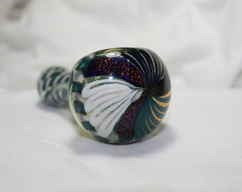 4 1/4 inch Aqua and White Dicro Color Swirl