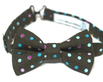 Bow Tie - Brown with Polka Dots Bowtie