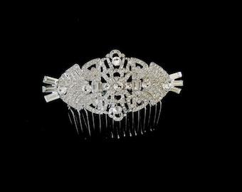 Express to Chicago Vintage Art Deco Bridal Hair Comb Bridal