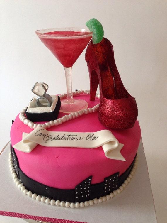 Cocktail glass birthday cake