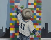 Innocence 9/11, print of my original painting, child rebuilt lego twin towers, on the Manhattan skyline. Colorful hommage to september 11th