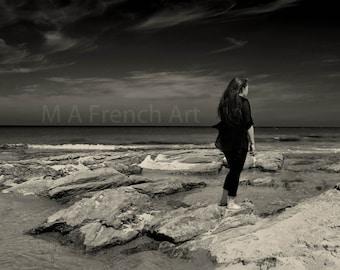 Girl on the beach, Scotland, 11.7x16.5in Photo Print -  Mounted 16x20in