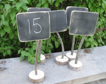 FIVE Blank Rustic Wedding Chalkboard Table Number Wood Stand Wooden Signs for Rustic Barn Outdoor Reception idea decoration Chalk Sign