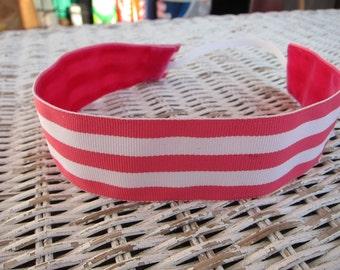 Pink White Striped Headband - Womens Wide Headband
