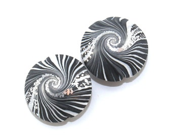 Focal beads in stripes pattern, swirl lentil beads in black, white and  silver, Jewelry supplies, elegant beads Set of 2