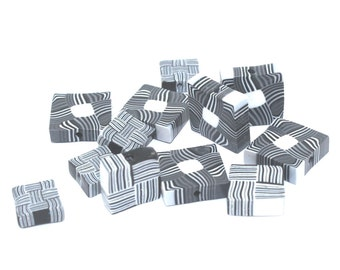 Square stripes beads in black, white and grey, unique beads, elegant beads, polymer Clay beads, set of 12 square flat beads