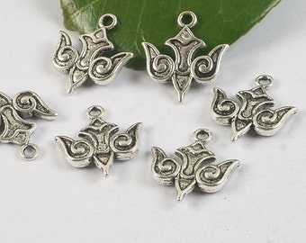 10pcs antiqued silver flying wings charm pendant H0408
