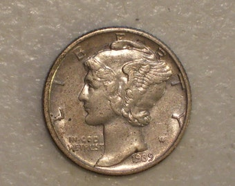 US 1939-D Winged Liberty Head Mercury Dime, AU, Silver