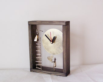 Lovers' ladder clock, brass  miniature sculpture with brass clock in wooden frame, oxidised brass grey varnished wood clock for wall or desk