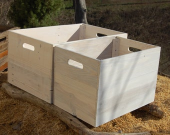 White Washed Reclaimed Wood Crates/ Apple Crates/ Wooden Crates/ Storage