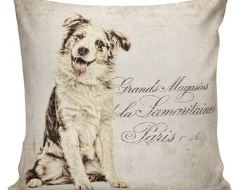 Pillow Australian Shepherd Aussie Gift Cotton and Burlap Pillow Cover AN-93