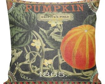 Fall Pillow, Pumpkin Pillow, Halloween Pillow, Burlap Pillow Cover, Autumn Harvest Cotton Throw Pillow Cover #HA0055