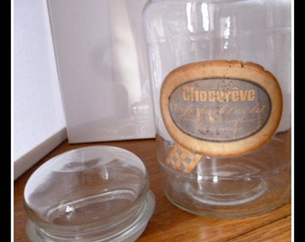 Clear Glass Confectionary Shop Storage Jar, with original label/ french decor.